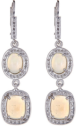 Forever Creations Usa Inc. Forever Creations Silver 1.44 Ct. Tw. Diamond & Opal Earrings