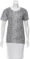 Saint Laurent Leopard Print Crew Neck T-Shirt