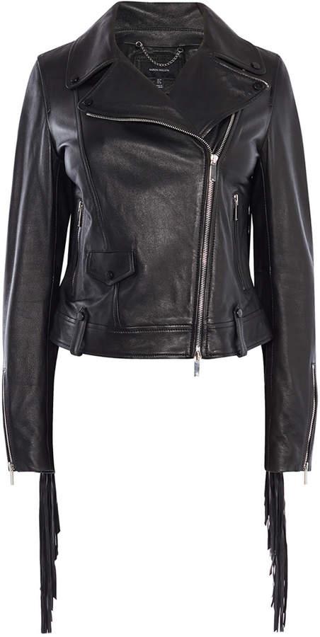 Karen Millen Leather Fringed Jacket