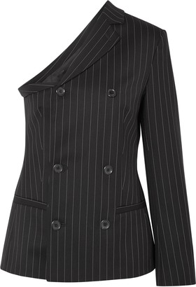 Moschino One-shoulder Pinstriped Wool-blend Top