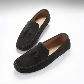 Hugs & Co Tasselled Driving Loafers Black Suede