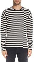 John Varvatos Men's Offset Stripe Long Sleeve Crewneck T-Shirt