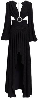 PatBO Lurex Cutout Long-Sleeve Gown