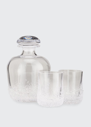 Simon Pearce Sterling Pond Decanter with 2 Double Old-Fashioned Glasses
