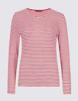 Marks and Spencer Pure Cotton Crew Neck Thin Stripe T-Shirt