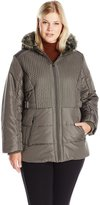 Details Women's Plus Size Puffer Coat with Braided Quilting Faux-Fur Trimmed Hood