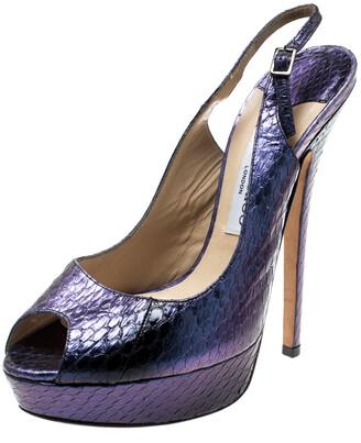 Jimmy Choo Metallic Purple Embossed Leather Vita Peep Toe Platform Slingback Sandals Size 39