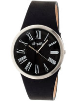 Simplify Mens The 2000 Black Dial Black Leather-Band Watch Sim2002