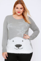 Yours Clothing Grey & Silver Polar Bear Knit Christmas Jumper