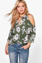 Boohoo Pearl Printed Long Sleeve Cold Shoulder Top