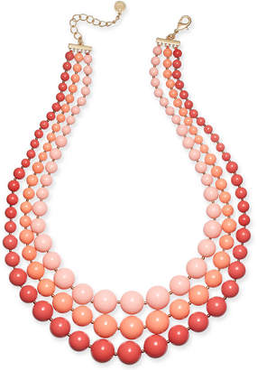 "Charter Club Gold-Tone Imitation Pearl Triple-Row Statement Necklace, 18"" + 2"" extender"