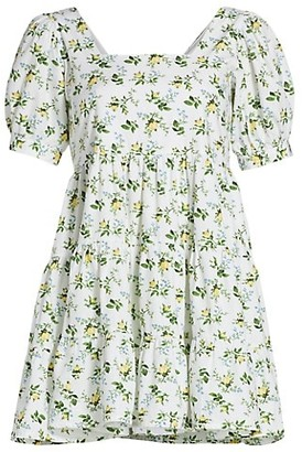 Faithfull The Brand Le Temps Des Fleur Eldora Puff-Sleeve Babydoll Dress