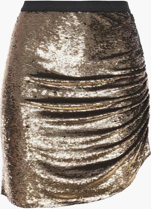 IRO Reward Ruched Metallic Sequined Woven Mini Skirt