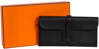 One Kings Lane Vintage Hermes Black Swift Jige Elan Clutch - Vintage Lux