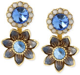 Betsey Johnson Gold-Tone Blue Crystal Floral Front and Back Earrings