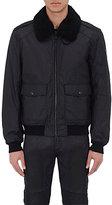 Belstaff Men's Shearling-Collar Zip-Front Jacket-BLACK