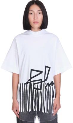 Palm Angels Fringed Desert T-shirt In White Cotton