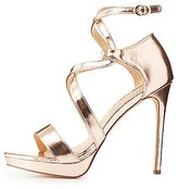 Charlotte Russe Metallic Caged Dress Sandals