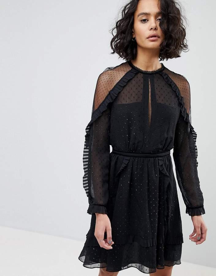 AllSaints Sparkle Ruffle Mini Dress