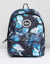 Hype Backpack In Black Leaf Print