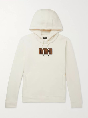 Fendi Logo-Appliqued Fleece-Back Cotton, Wool, Silk And Cashmere-Blend Jersey Hoodie