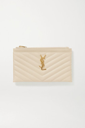 Saint Laurent Monogram Quilted Textured-leather Pouch - Off-white
