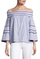 Parker Striped Off-the-Shoulder Cotton Blouse