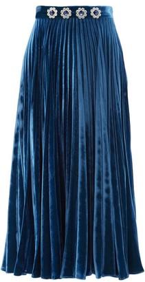 Christopher Kane Crystal-flower Pleated Velvet Maxi Skirt - Blue
