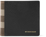 Burberry Full-grain Leather And Checked Cotton-twill Billfold Wallet - Black