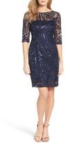 Tahari Women's Sequin Illusion Sheath Dress