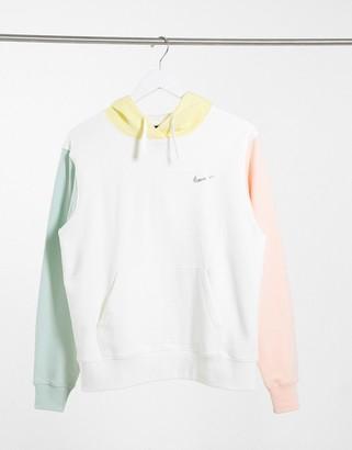 Nike mini metallic swoosh oversized colour block hoodie in multi