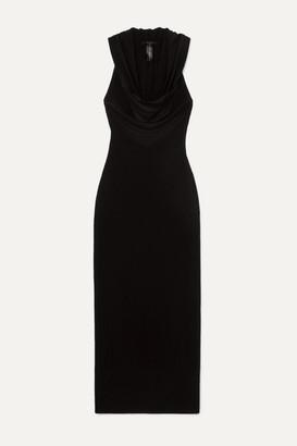 Norma Kamali Neeta Hooded Draped Stretch-jersey Maxi Dress