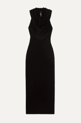 Norma Kamali Neeta Hooded Draped Stretch-jersey Maxi Dress