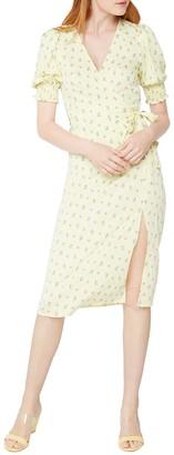 BCBGeneration Puff-Sleeve Printed Wrap Dress