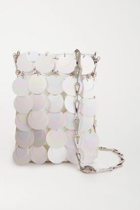 Paco Rabanne Mini Bridal Sparkle Paillette-embellished Faux Leather Shoulder Bag - White