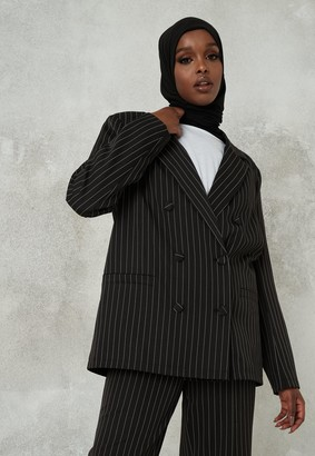 Missguided Black Co Ord Pinstripe Double Breasted Blazer