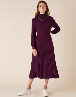 Monsoon Roll Neck Knit Dress with LENZING ECOVERO Red