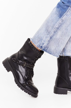 Nasty Gal Womens Jump on Babe Lace-Up Biker Boots - Black