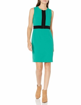 Kasper Women's Stretch Crepe Zipper Front Sheath with Combo Fabric