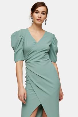 Topshop Sage Wrap Crepe Midi Dress