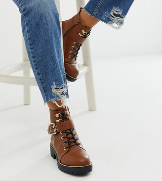 ASOS DESIGN Wide Fit Armour chain lace up boots in tan