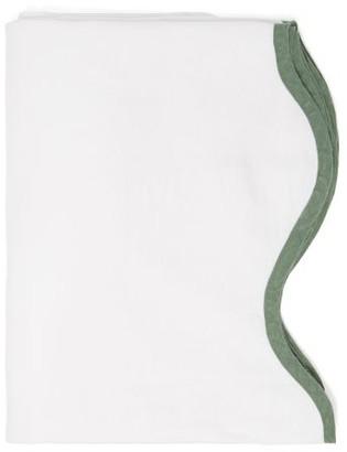Matilda Goad - Scalloped-edge 260cm X 160cm Linen Tablecloth - White Multi