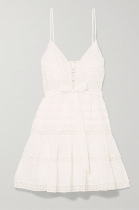 Zimmermann Honour Tiered Lace-trimmed Swiss-dot Cotton-voile Mini Dress - Ivory
