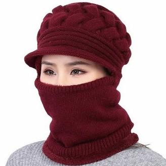 None Brand Women Bib Beanie Hat Pom Bobble Scarf Mask Set Knitted Winter Warm Snow Ski Cap (Wine red)