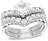 Zales 6.0mm Lab-Created White Sapphire Bridal Set in Sterling Silver