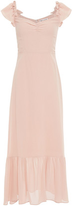 Reformation Off-the-shoulder Ruffle-trimmed Chiffon Midi Dress