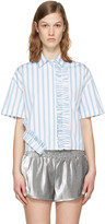 MSGM Blue & White Ruffle Shirt