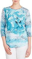 Allison Daley Crew-Neck Floral Burst 3/4 Sleeve Knit Top