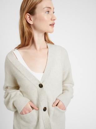 Banana Republic Petite Oversized Blouson-Sleeve Cardigan Sweater