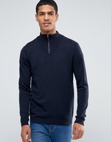 Asos Zip Turtle Neck Jumper In Navy Cotton